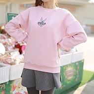 粉色小兔图案加绒运动T恤