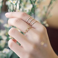 苗条叶子戒指