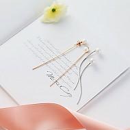 ★银针★珍珠长款线耳环
