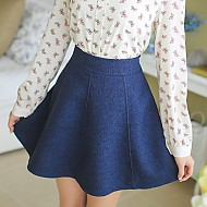侧拉链A形超短裙