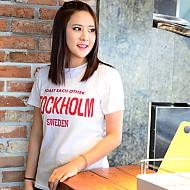 韩国进口纯棉英文图案T恤