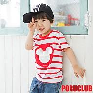 韩国正品条纹米老鼠烫银T恤